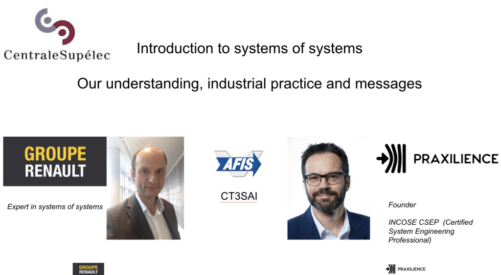Cours d'introduction aux Systèmes de Systèmes à l'Ecole CentraleSupelec